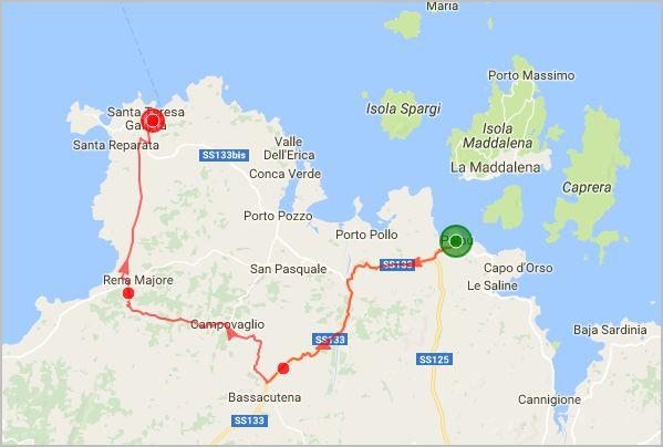 parcours vélo nord de la Sardaigne