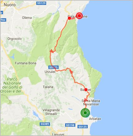 parcours Est Sardaigne Cala Gonone