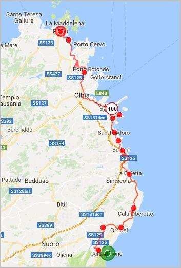 parcours Sardaigne côte Est