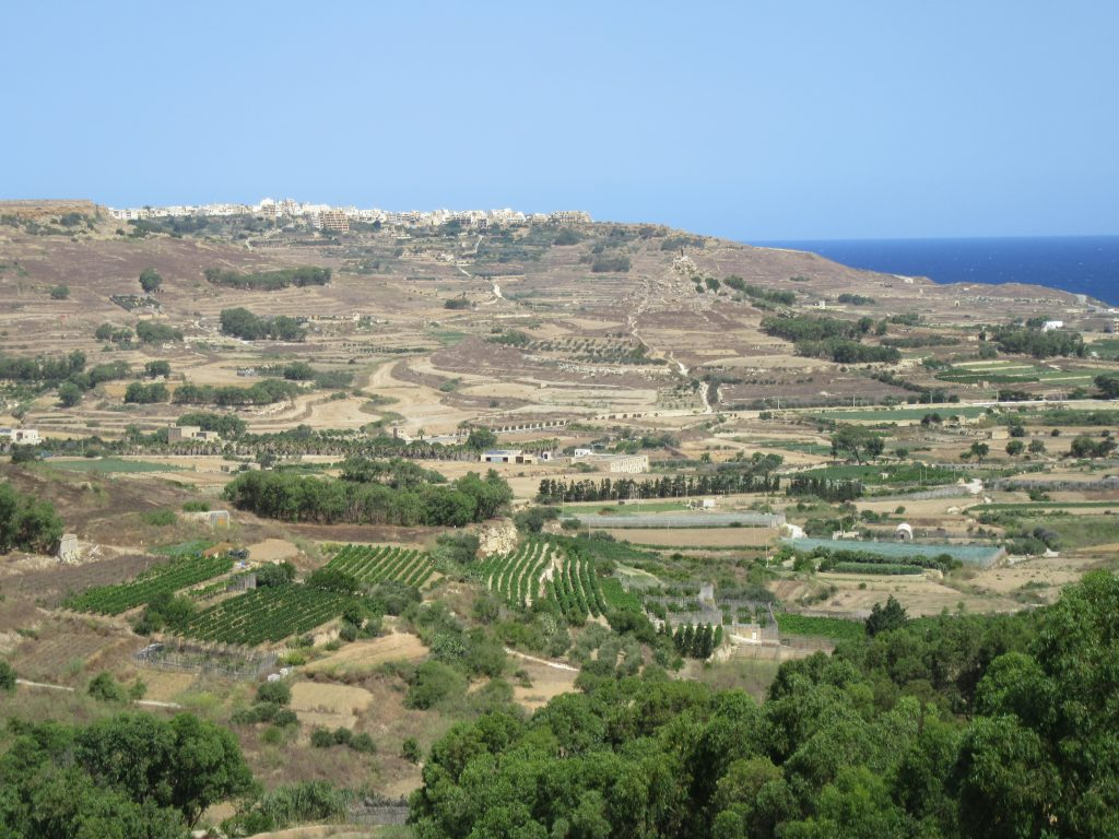 Paysage depuis la terrasse de notre logement sur Gozo