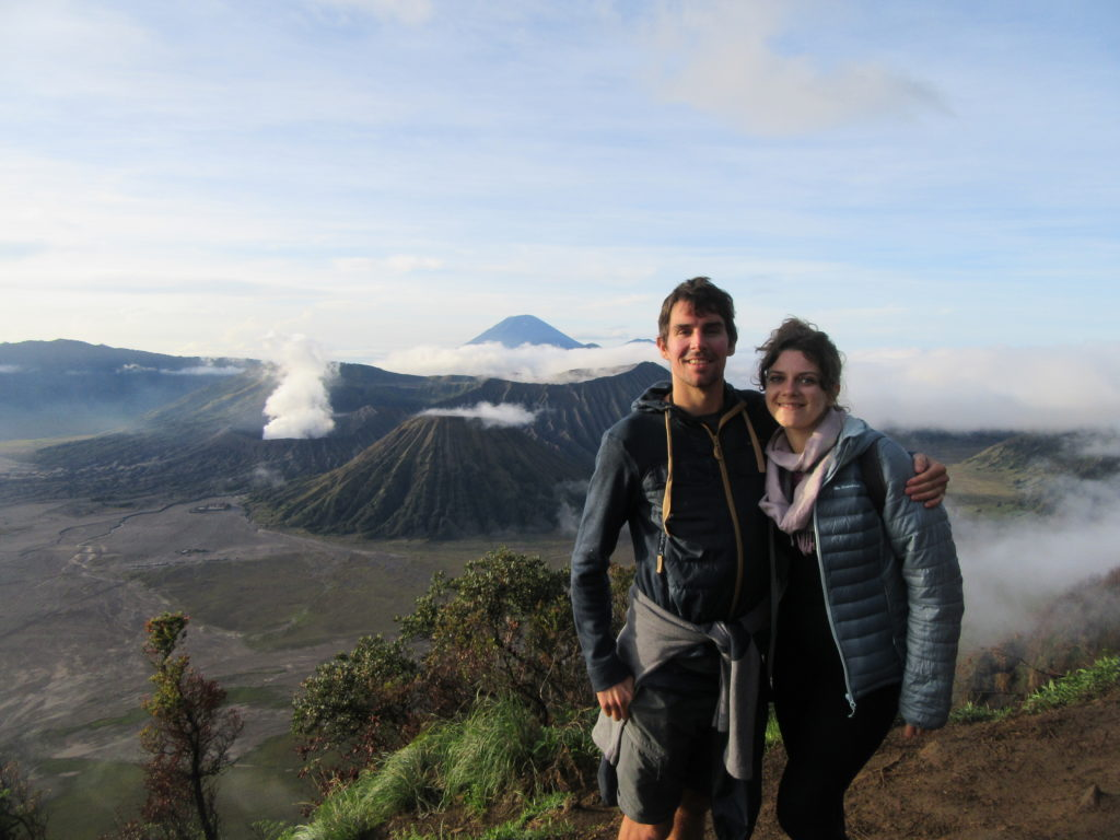 En couple, volcan Bromo Java