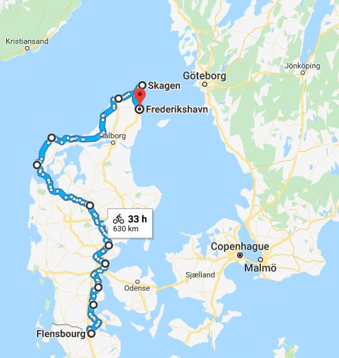 parcours voyage à vélo Danemark