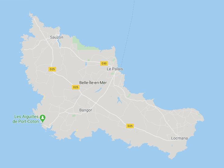 Carte de Belle Ile en mer week-end en amoureux