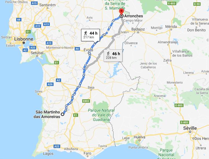Parcours voyage a vélo Portugal Alentejo