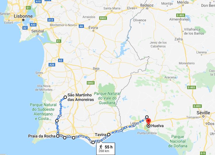 Itinéraire voyage à vélo Portugal en Algarve