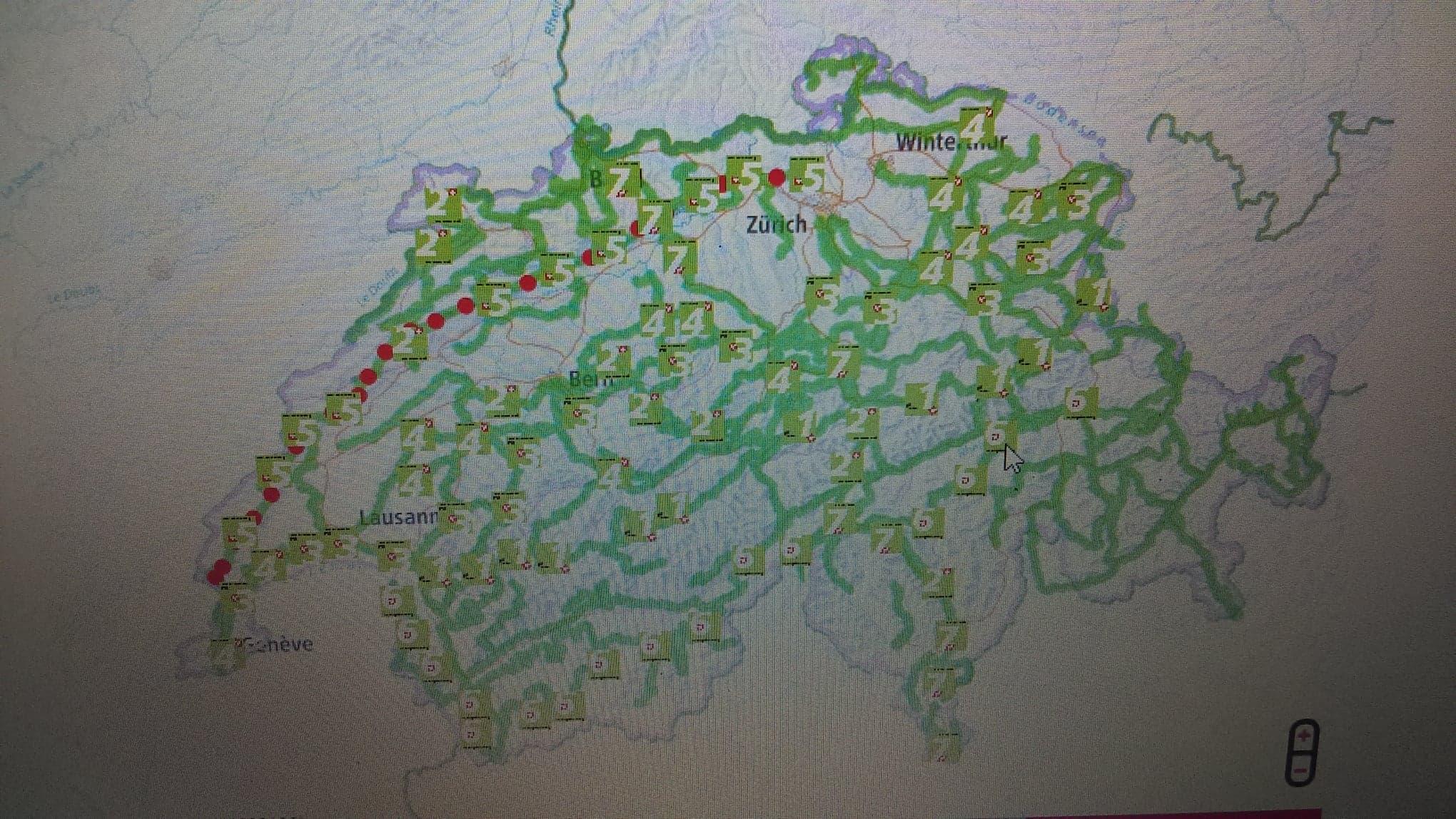 carte des parcours de randonnée en Suisse