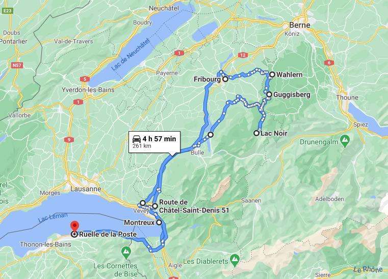 parcours road trip hivernal en Suisse